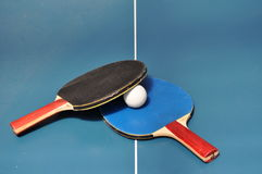 table tennis/ping pong paddle and ball  Royalty Free Stock Photo