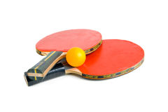 Table Tennis Bats with Ball. Royalty Free Stock Photography