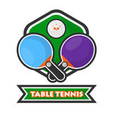 Table tennis colorful logotype with crossed rackets and ball. Table tennis colorful logotype. Crossed blue and violet rackets, small ball with orange stars Stock Photography
