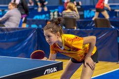 Table tennis competition among girls. 29.03.2013, city of Orenburg, Southern Ural, Russia Stock Image