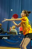 Table tennis competition among girls Royalty Free Stock Photos