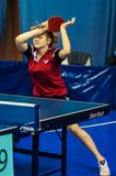 Table tennis competition among girls Stock Photography