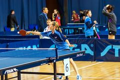 Table tennis competition among girls Royalty Free Stock Photography