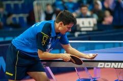 Table tennis competitions. Orenburg Russia - 03.04.2015: Game tennis Alexey SMIRNOV  Fakel Gazproma Orenburg and Daniel HABESOHN Weinviertel Lower Austria ( Royalty Free Stock Image