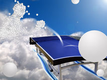 Table-tennis dream. A table-tennis scene in the sky. table-tennis player between the clouds illustrated with table-tennis balls Royalty Free Stock Images