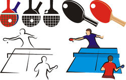 Table tennis - equipment and sihouette Stock Photo