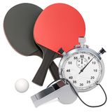 Table tennis equipment with whistle and stopwatch, 3D rendering. Isolated on white background royalty free illustration