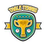 Table tennis five-star private club emblem isolated illustration. Table tennis five-star private club emblem with gold trophy cup, game balls and rackets Royalty Free Stock Photography