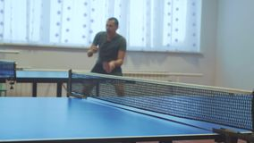 Table tennis forehand concept. blurred focus man playing training table tennis the sport lifestyle active stock footage