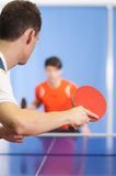 Table tennis game. Royalty Free Stock Image
