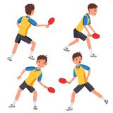 Table Tennis Male Player Vector. In Action. Twists The Ball. Ping Pong. Cartoon Character Illustration. Table Tennis Male Player Vector. Playing In Different royalty free illustration