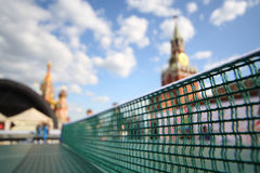 Table tennis net against the Kremlin. Royalty Free Stock Photo