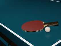 Table Tennis with One Racket and a Ball Stock Photos