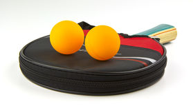 table tennis paddle, case and balls Royalty Free Stock Photography