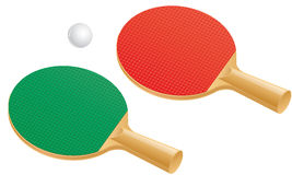 Table tennis paddles and ball Stock Photography