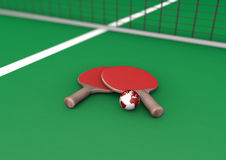 Table tennis paddles with the earth Royalty Free Stock Photo