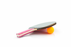Table tennis (ping-pong) racket and a ball. Royalty Free Stock Image