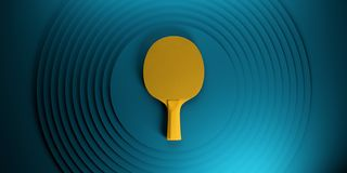 Table tennis or ping pong racket. tournament poster design on abstract color circles backgroung 3d illustration royalty free illustration