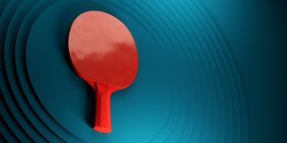 Table tennis or ping pong racket. tournament poster design on abstract color circles backgroung 3d illustration. Table tennis or ping pong racket. tournament Royalty Free Stock Photo