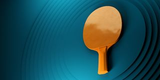 Table tennis or ping pong racket. tournament poster design on abstract color circles backgroung 3d illustration. Table tennis or ping pong racket. tournament