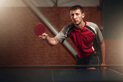 Table tennis, player in action, ball with trace Royalty Free Stock Images