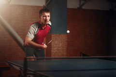 Table tennis, player in action, ball with trace Stock Photography