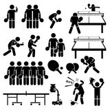 Table Tennis Player Actions Poses Cliparts. A set of stickman pictogram representing table tennis player actions and postures. They are also playing in double stock illustration