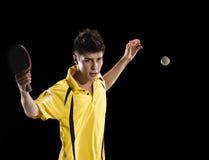 Table tennis player man with ball Stock Photos