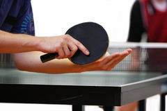 Table tennis player serving Royalty Free Stock Image