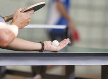 Table tennis player serving Stock Photos