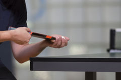 Table tennis player serving Stock Image