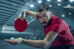 The table tennis player serving. The table tennis player in motion. Fit young sports man tennis-player in play on sport arena background with lights. Movement Stock Photography