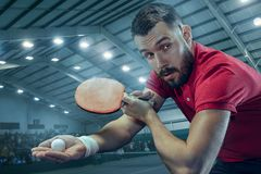 The table tennis player serving. The table tennis player in motion. Fit young sports man tennis-player in play on sport arena background with lights. Movement Royalty Free Stock Photos