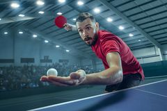 The table tennis player serving. The table tennis player in motion. Fit young sports man tennis-player in play on sport arena background with lights. Movement Stock Photo