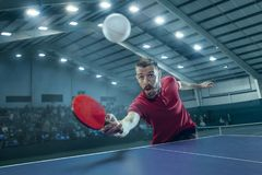 The table tennis player serving. The table tennis player in motion. Fit young sports man tennis-player in play on sport arena background with lights. Movement Stock Images