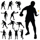 Table tennis player silhouette Royalty Free Stock Images