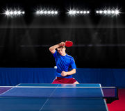 Table tennis player at sport hall Stock Photos