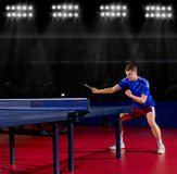 Table tennis player at sports hall Royalty Free Stock Image