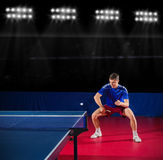 Table tennis player at sports hall Stock Image