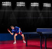 Table tennis player at sports hall Royalty Free Stock Images