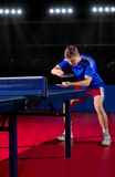 Table tennis player at sports hall Royalty Free Stock Photo