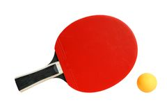Table tennis racket and ball. Isolated on the white background Royalty Free Stock Photo