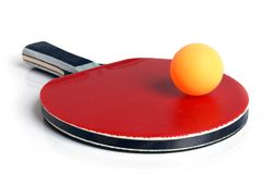 Table tennis racket and ball. On a white background Stock Photography