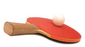 Table tennis racket and ball Royalty Free Stock Photos