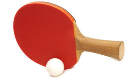 Table tennis racket and ball Stock Photography