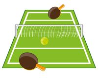 Table for tennis. Tennis table with racket and ball on white background Stock Images