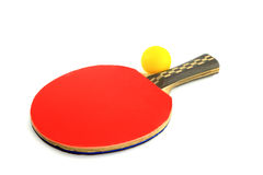 Table tennis racket and ball on a white background Stock Photos