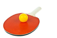 Table tennis racket and balls Stock Photo