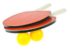 Table tennis racket and balls Stock Images