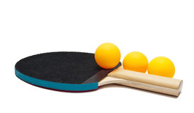 Table tennis racket and balls Royalty Free Stock Image